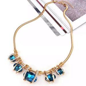 Blue cz/gold statement necklace NWT